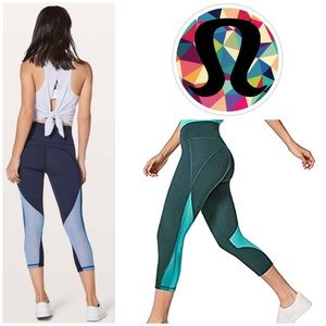 Lululemon Mix and Mesh Crop (Teal Shadow/Green)
